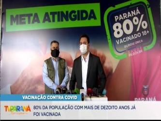 80% da população adulta do Paraná já está vacinada contra a covid com a primeira dose ou dose única